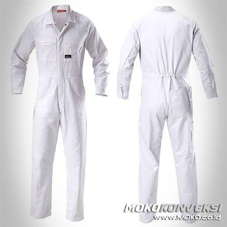 Safety Coverall - MOKO KONVEKSI. Desain Seragam Kerja Lapangan Warna Putih Polos.