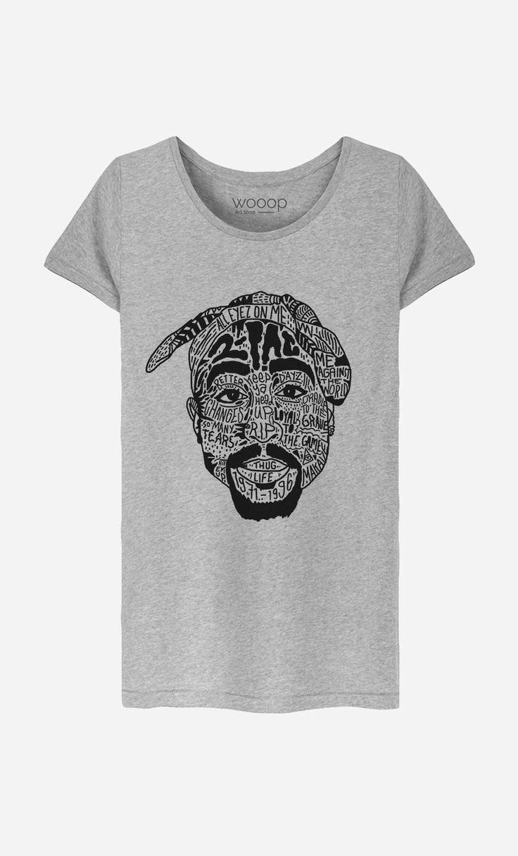 T-Shirt Gris Femme Tupac Shakur - Wooop.fr
