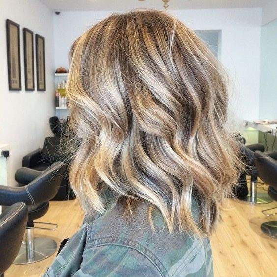 Wavy Cuts Lob Cheveux - Blonde bALAYAGE Highlights