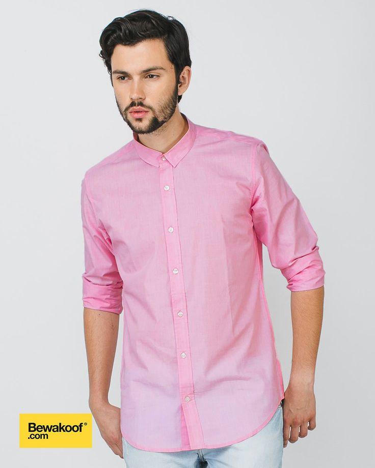 Bewakoof - Light Pink Slim Fit Full Sleeve Shirt  INR 995 at Bewakoof.com