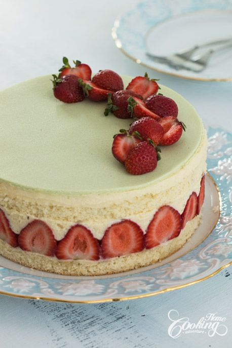 Fraisier- genoise with mousseline cream and strawberries with marzipan on top