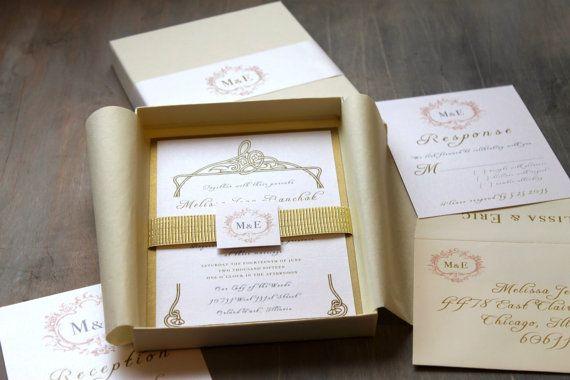 Price Of Wedding Invitations: Luxury Elegant Boxed Wedding Invitations, Gold, White