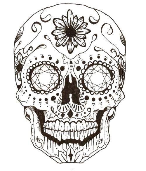 Раскраска Череп в узорах с рисунками ,череп, узоры, цветы ...
