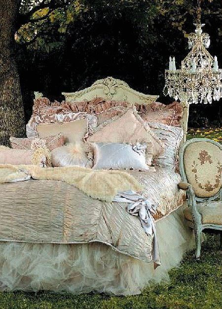 Shabby bed, pic from designworks FB photos.  Love the bed, the bedding, the chandelier, and the chair.  Fabulous!
