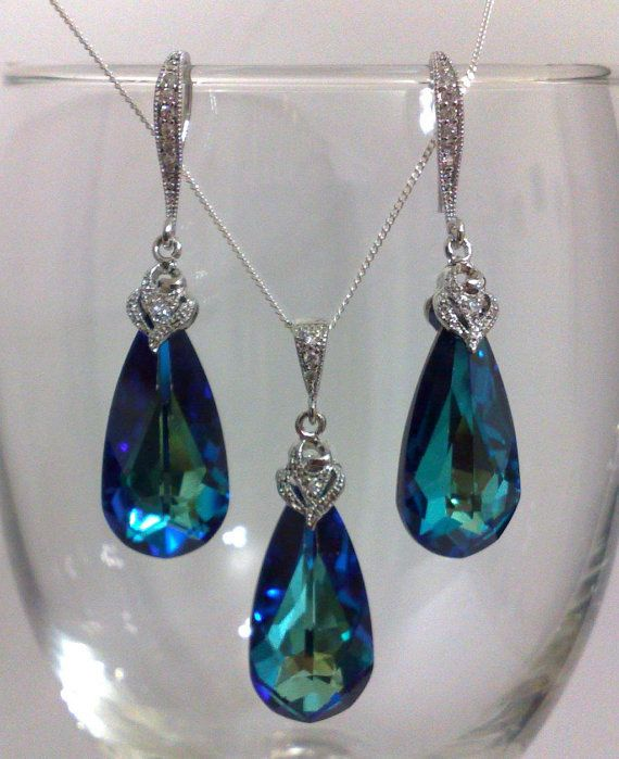 Something Blue Teal Peacock Swarovski Teardrop Bridal by YJCouture, $69.00