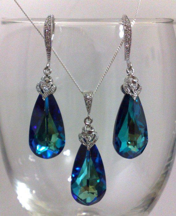 Something Blue Teal Peacock Swarovski Teardrop Bridal by YJCouture, $69.00