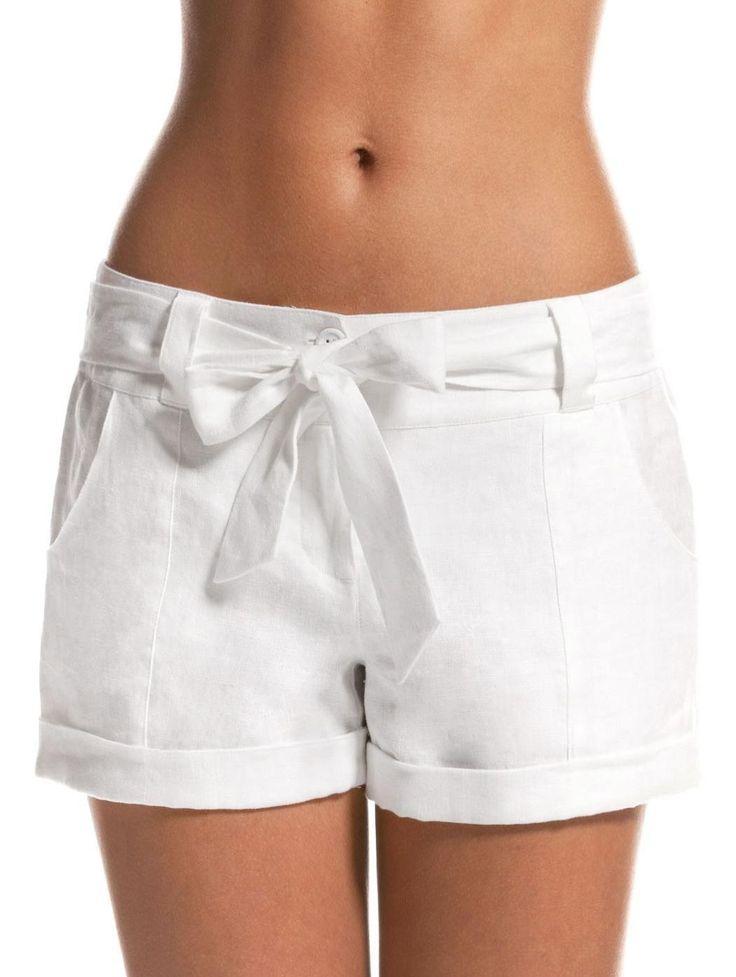 island company white linen shorts