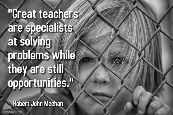 """""""Great teachers are specialists at solving problems while they are still opportunities."""" -- Robert John Meehan"""