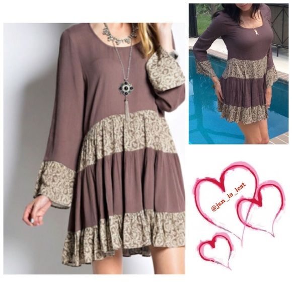 "❄️️Sale❄️ LAST 1 Brown Boho Mini Dress/Tunic Soooo Cute  Shapeless & swingy crepe mini dress (32"" long) with mix & match mini bell sleeves.. Fully lined . 100% Rayon!!  New without tags... Model is wearing a small 5'7"", 120lbs, 34dd, 26"" waist Dresses Mini"