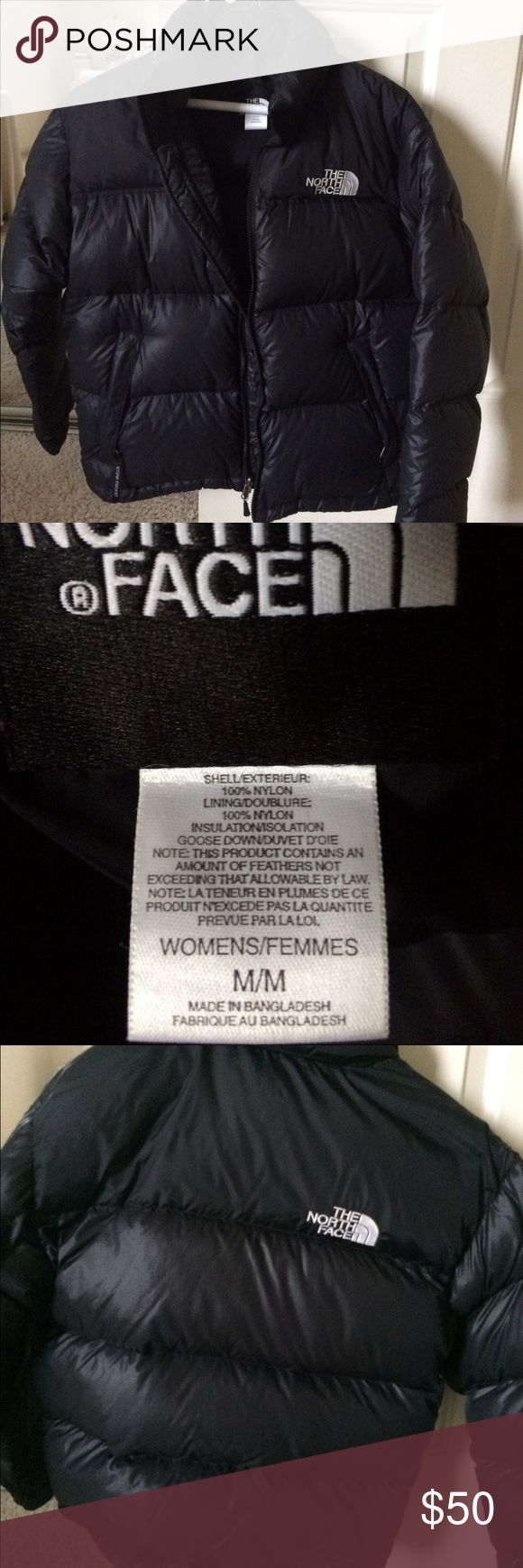 Women's Black North Face Nuptse Jacket Size M Gently used. See photo for collar - makeup foundation marks. Coat is clean after being washed. 700 fill. The North Face Jackets & Coats Puffers