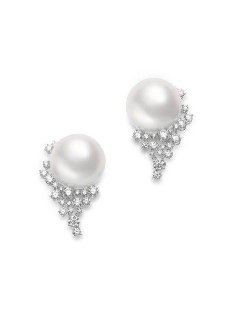 Mikimoto South Sea Cultured Pearl, Diamond and 18K White Gold Earrings