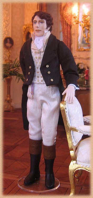 Philip, miniature Regency porcelain doll by Annemarie Kwikkel