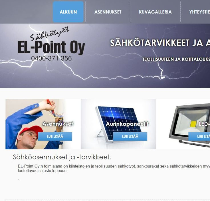 Sähköalan yrityksen El-Point Oy verkkosivut http://www.teamprog.fi/