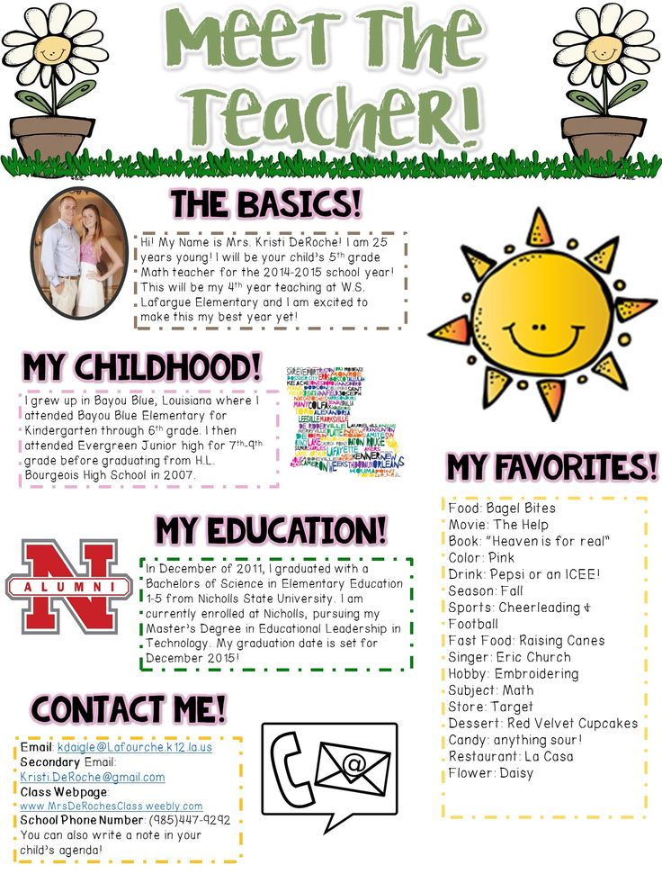 Meet the Teacher Newsletter- EDITABLE- Spring/Flower Themed Great for open house, meet and greet, or the beginning of the year to introduce yourself to students.