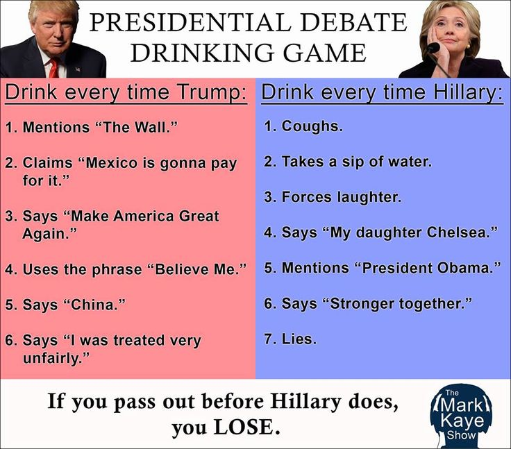 "2016 Presidential Debate  Drinking Game.  #7 for Trump:  any time he mentions an individual or company that has given him an ""endorsement""."