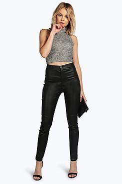 Lara Leather Look Coated Skinny Trousers
