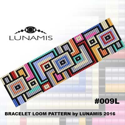 Bracelet loom patterns / square stitch made with size 11/0 Miyuki round beads Width: 3,6 cm / 1.4 (25 columns) Length: 15,7 cm / 6.2 Colors: 10  Patterns include: - Large colored numbered graph paper (and non-numbered in another files) - Bead legend (numbers and names of Miyuki round beads colors ) - Word chart - Pattern preview  This pattern is intended for users that have experience with loom and the pattern itself does NOT include instructions on how to do this stitch. ...