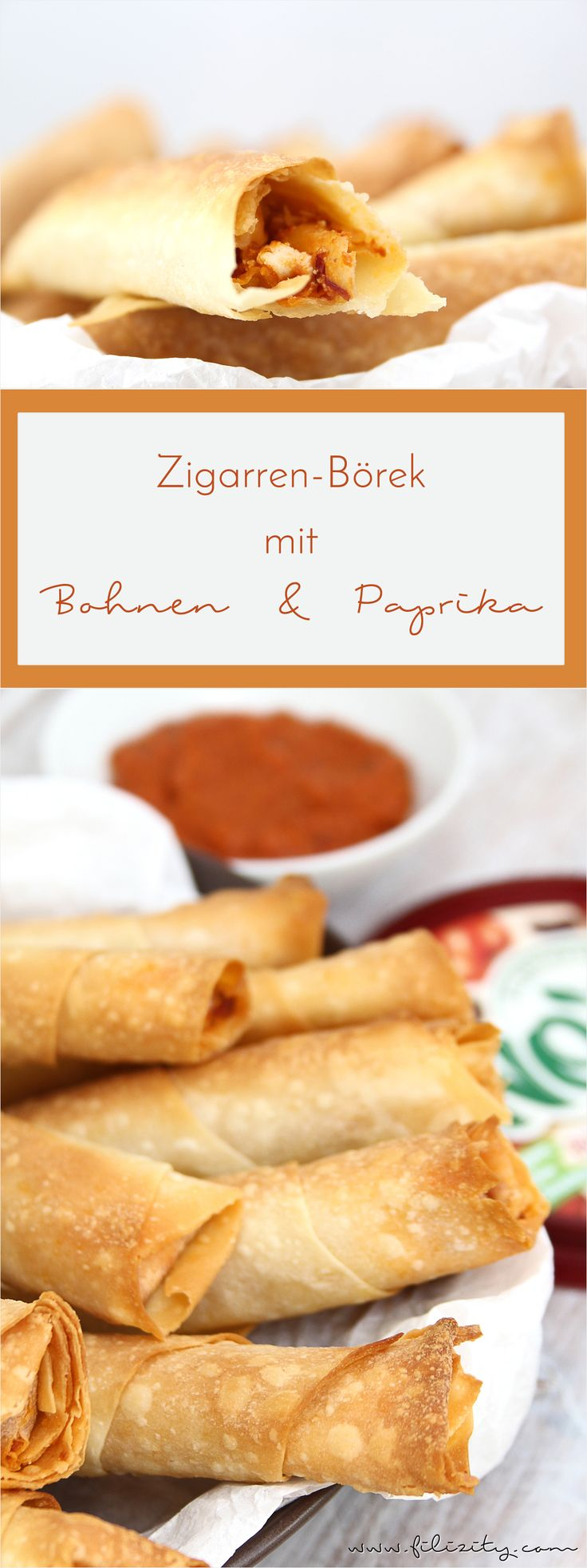 Perfektes Party- / Finger-Food für Silvester, Geburtstage uvm.: Zigarrenbörek (Sigara Böregi) mit vegetarischer Bohne-Paprika-Füllung #rezept #party #silvester #börek