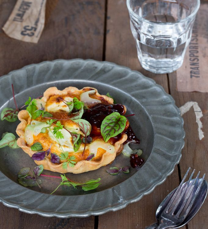 Goat Cheese Tart with Pickled Celery and Beerenberg Balsamic Beetroot Relish By Adam Liaw #safood #beerenberg