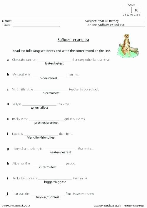 Suffixes Worksheets for 2nd Grade Free Suffix Worksheets