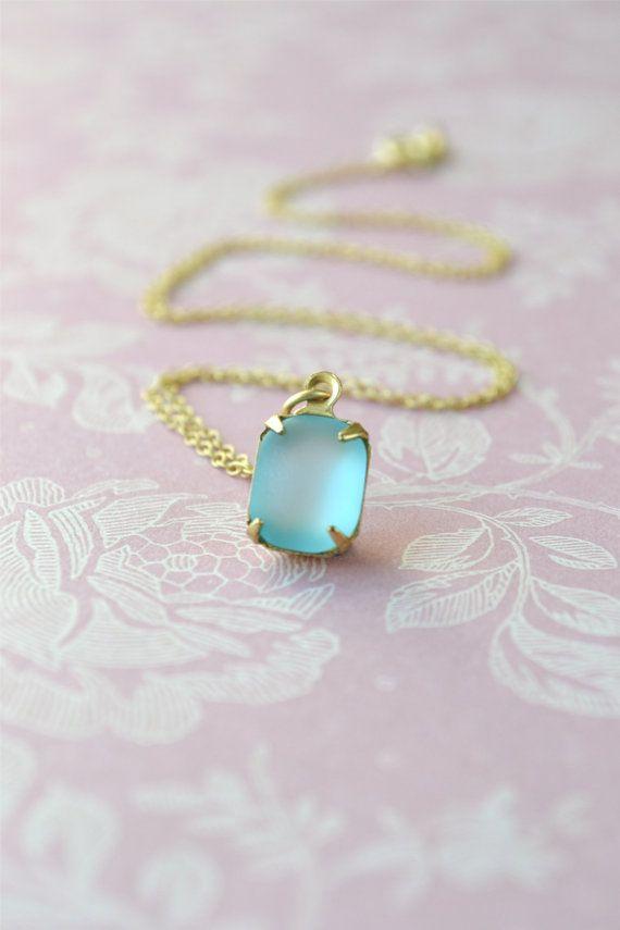 Vintage Glass Necklace Blue Pendant Gold Pendant by Phoebedreams