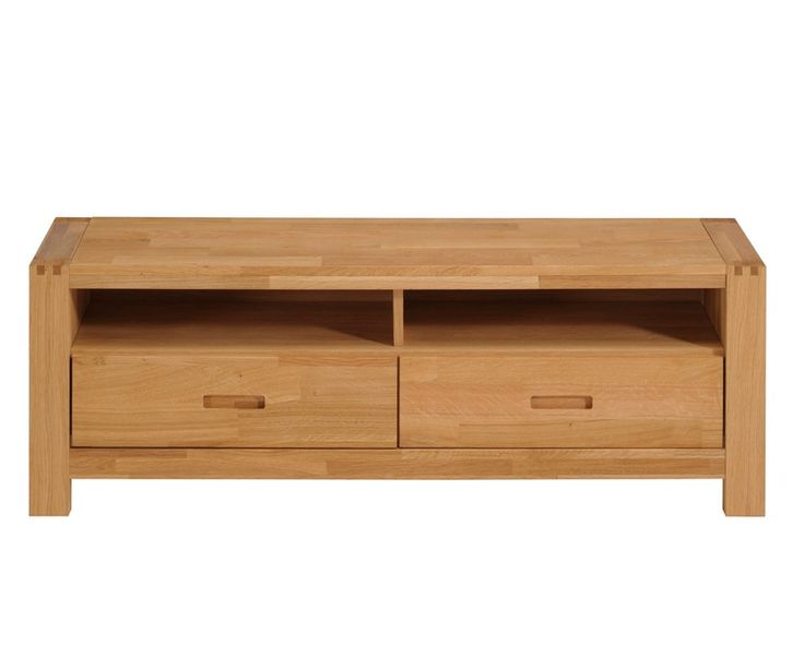 """Simple Oak TV Unit with Drawers   Ethan French Oak 65"""" TV Stand / Unit with 2 Drawers and Shelves"""
