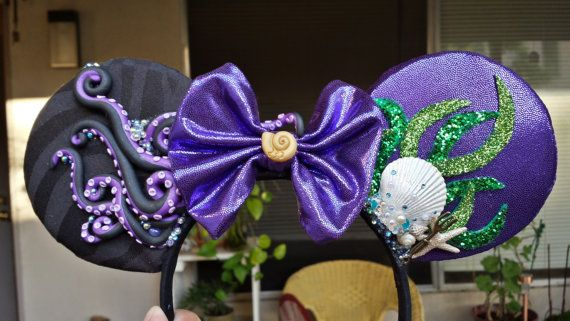 Poor Unfortunate Soul Ears: Ursula & Ariel - Disney's The Little Mermaid Handmade Mickey Mouse Ears