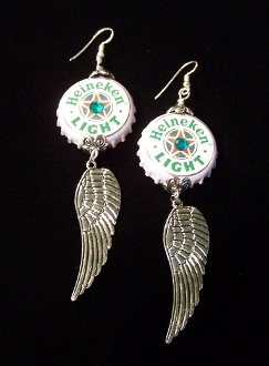 Heineken Bottle Cap Earrings