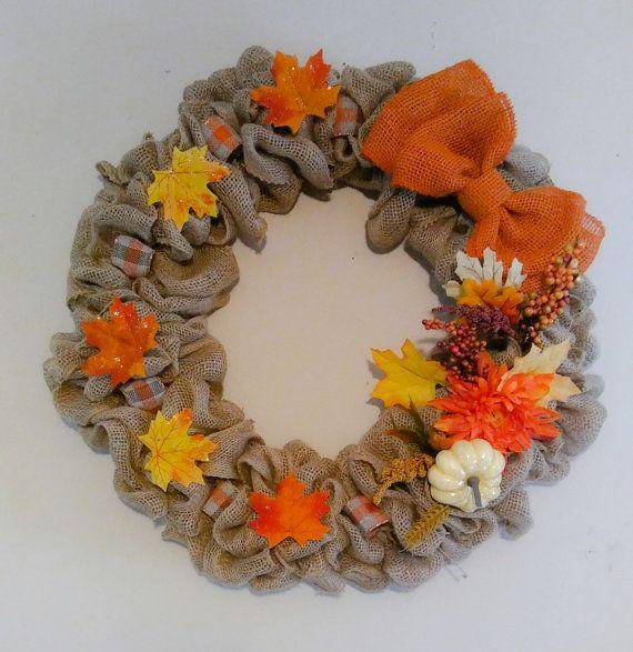 Caída de arpillera guirnalda, guirnalda de otoño, arpillera guirnalda, guirnalda de otoño, otoño arpillera guirnalda, guirnalda