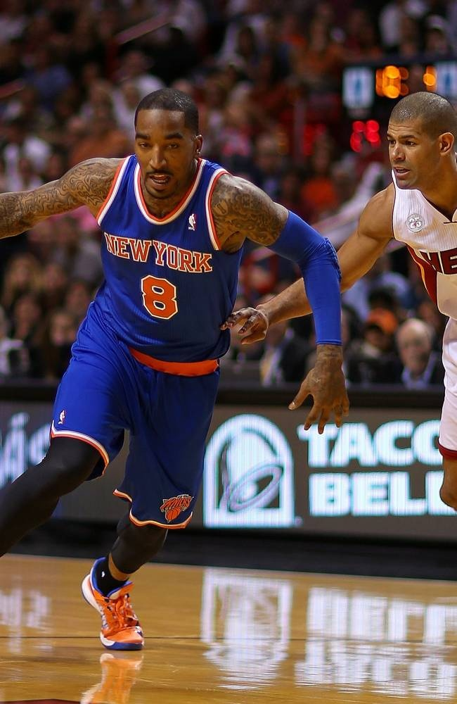 JR Smith 8 Of The New York Knicks Drives Past Shane Battier 31