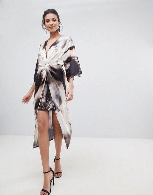 34fdd2734f8d29 ASOS Tall   ASOS DESIGN Tall midi kimono dress in abstract print ...