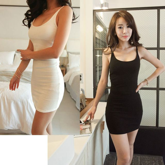 Wholesale Women sexy low-cut medium long spaghetti strape vest modal underdress slim plus size over hip full slip From m.alibaba.com