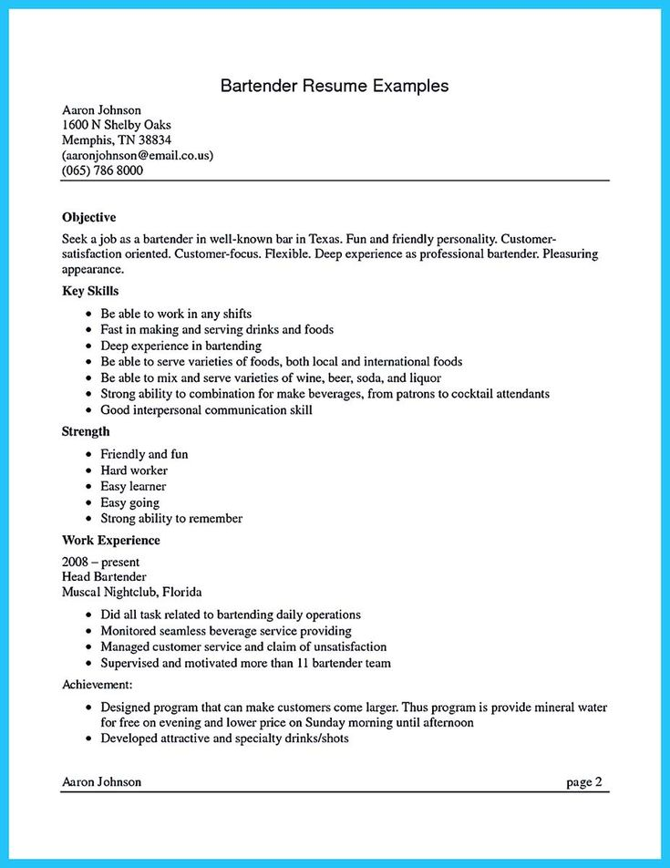 nice excellent ways to make great bartender resume template check more at http - Free Bartender Resume Templates
