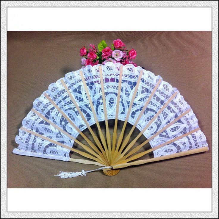 White Battenburg Lace Fan Wedding Hand Fan Folding Hand Fan for Wedding Decoration New Bride