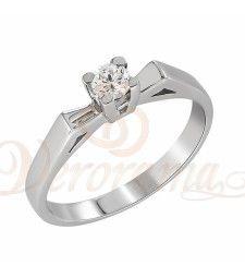 Μονόπετρo δαχτυλίδι Κ18 λευκόχρυσο με διαμάντι κοπής brilliant - MBR_019