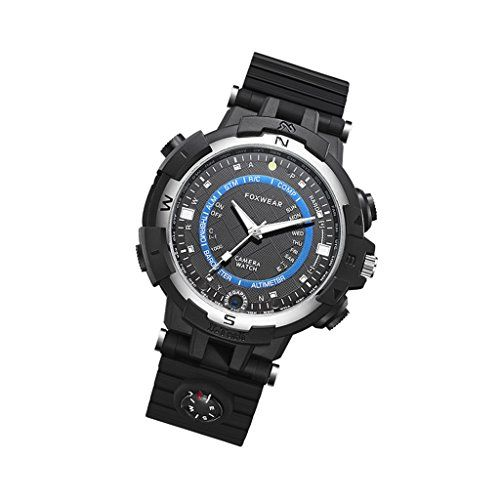 Jili Online Foxwear Outdoor Wrist Watch WiFi 720p Camera Video 30FPS 16GB Memory Capacity Support Compass, Driving Recorder,Flashlight,Alarm Clock for Android and IOS Smart Phones Black+Blue   Description:Stylish outdoor sport watch with intergraded camera lets you shoot pictures and video at any time.Support IR Night Vision V