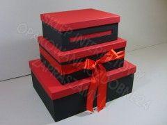 Piętrowe pudełko na koperty weselne czarno-czerwone