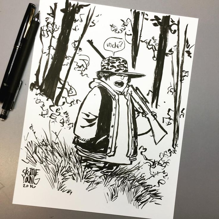 Ricky Baker. Original in my shop http://skottieyoungstore.bigcartel.com #huntforthewilderpeople #dailysketch #ink