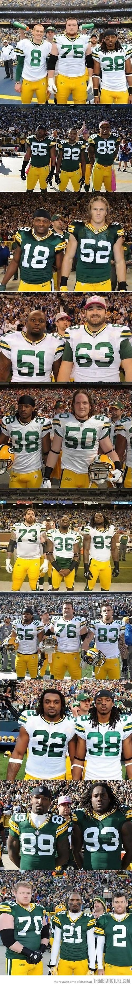 Aaron Rodgers, master photobomber...  Check out https://www.facebook.com/This-Girl-Loves-Packers-773855469299749/