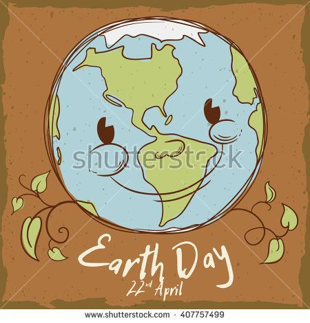 Cute smiling planet with branches and leaves in retro style with Earth Day date.