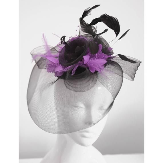 NEW PURPLE BEADED Net Loop And Feather Facinator MOTHER OF BRIDE
