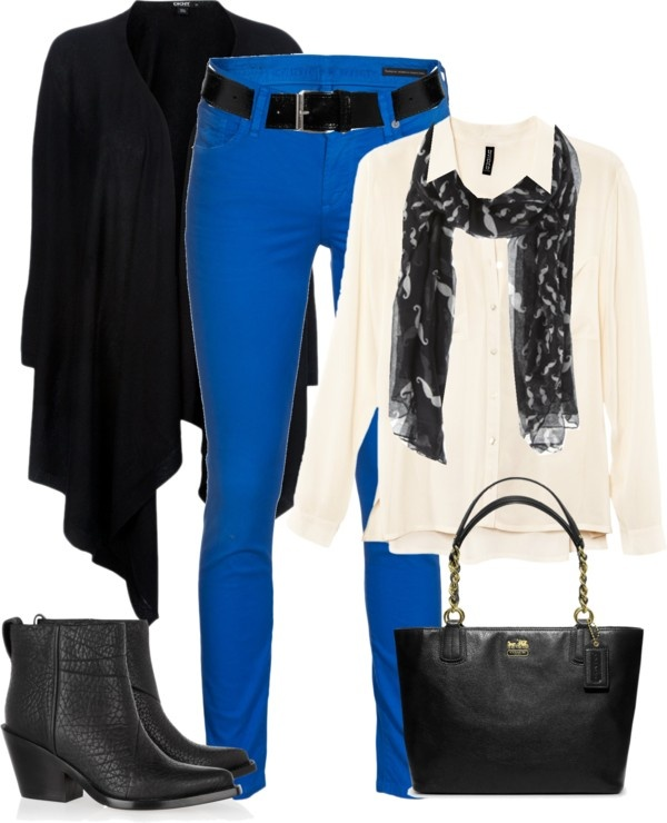"""Cobalt Jeans for Casual Work Day"" by trinavokes on Polyvore"