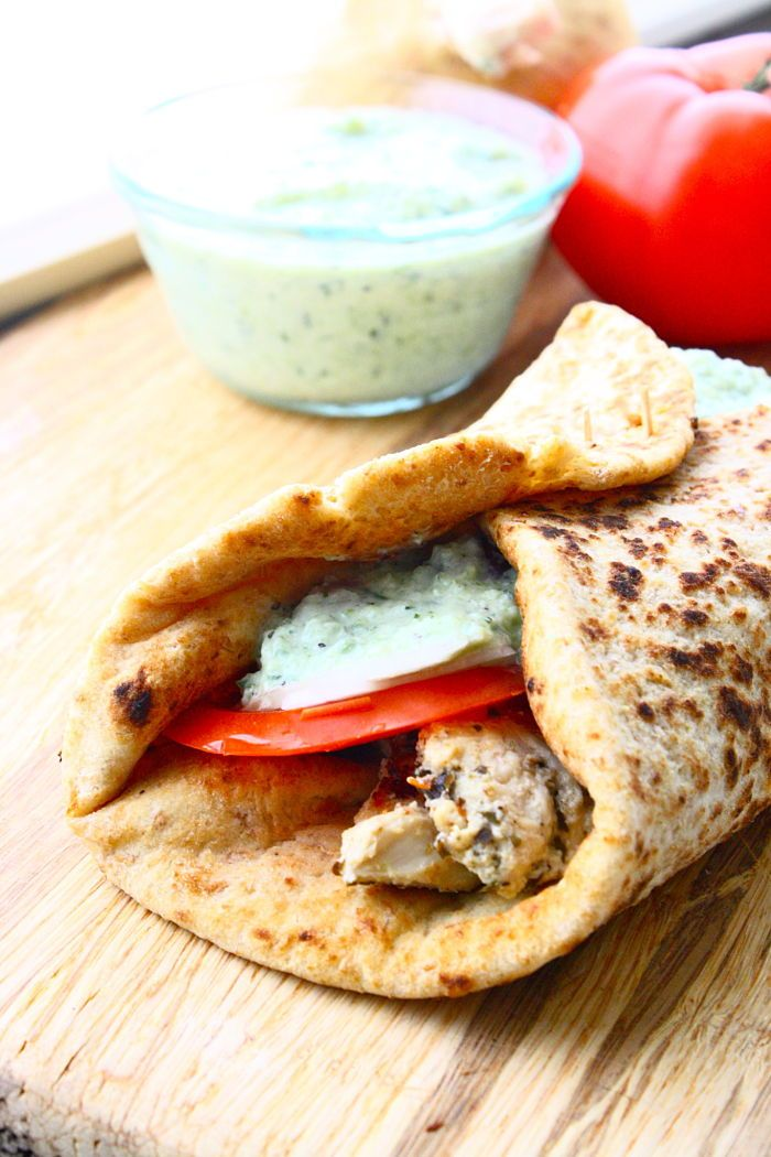 Greek-Style Chicken Pita Wraps w/Homemade Tzatziki Ingredients for the Tzatziki Sauce: 1 small cucumber, (remove seeds), cut into chunks – $0.99 5 cloves of fresh garlic – stock 2 tablespoons fresh dill – $1.69 8-oz of plain yogurt (Greek or non-Greek) –calculated above 1 tablespoon lemon juice – stock 1 teaspoon salt – stock ½ teaspoon freshly ground black pepper –stock