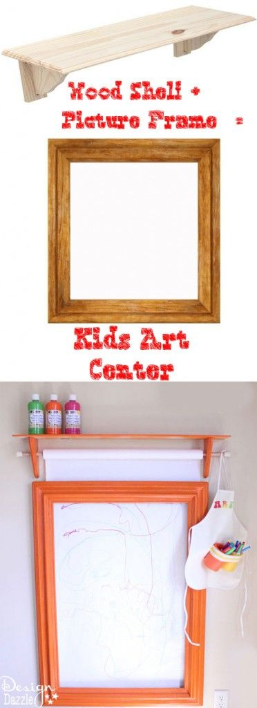 DIY Art Center! Old picture frame, shelf, and a paper roller! Endless art canvas for my little Picasso!