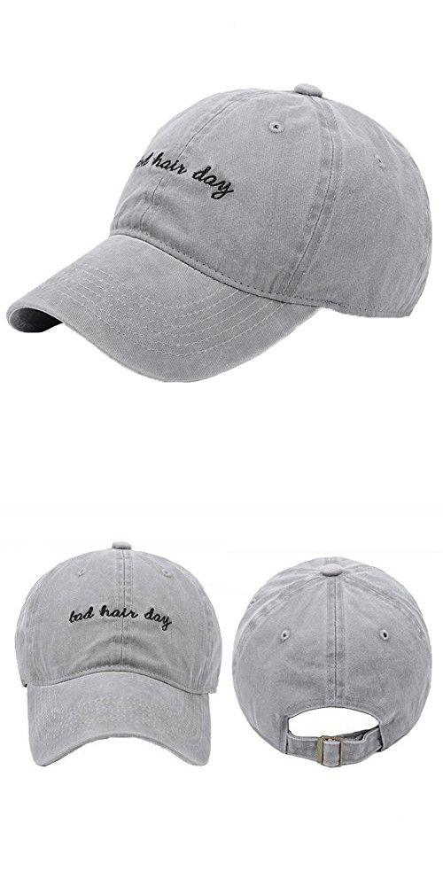 214defd2475 Unisex Washed Cotton Baseball Caps Adjustable Plain Dad Hat (Grey   Letters)