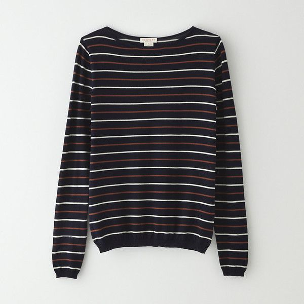 DEMYLEE Logan Sweater (£53) ❤ liked on Polyvore featuring tops, sweaters, navy, striped boatneck sweater, navy stripe sweater, boatneck sweater, boat neck sweaters and cotton sweaters