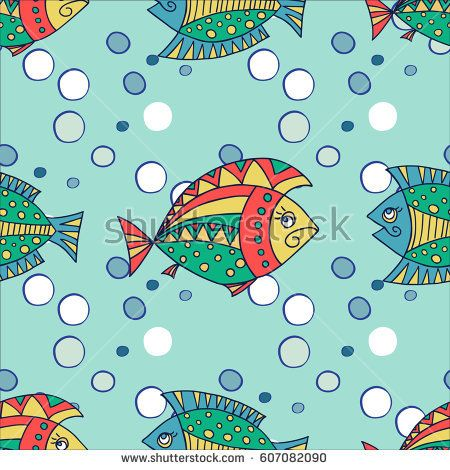 Bright decorative fish hand drawn vector. Seamless background. Illustration can be used for cover, card, background for poster, fabrics, wallpaper, textiles