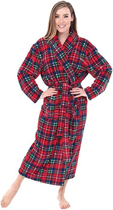d2c1eb4e27f20 Alexander Del Rossa Womens Fleece Robe, Long Bathrobe, Small Medium Blue Red  and Green Christmas Plaid (A0117Q19MD) at Amazon Women's Clothing store: