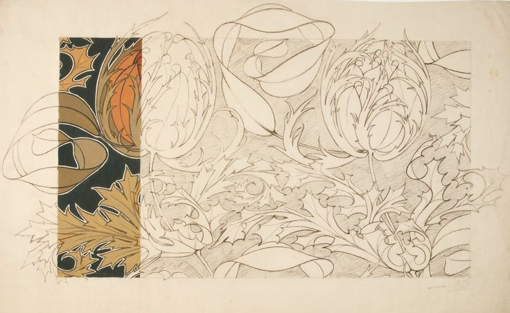 Design for a textile or wallpaper by Archibald Knox from the Silver Studio at MoDA. #ColorOurCollections