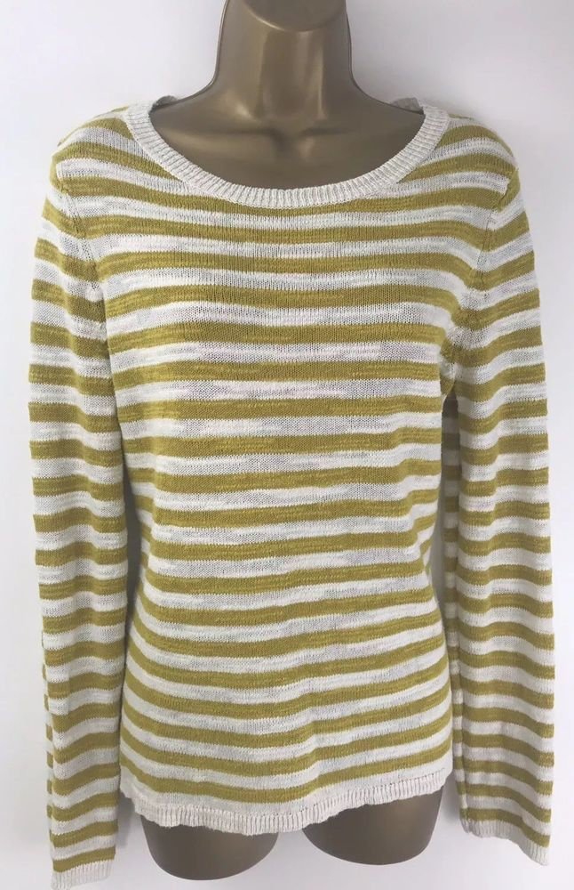ba8d17bebd3 Seasalt Goosander Jumper Mustard Striped Cotton Linen Long Sleeve Size 14   fashion  clothing